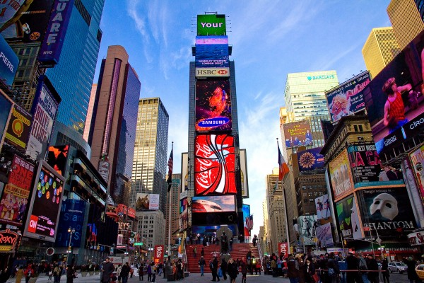 ve may bay di new york _ Times Square